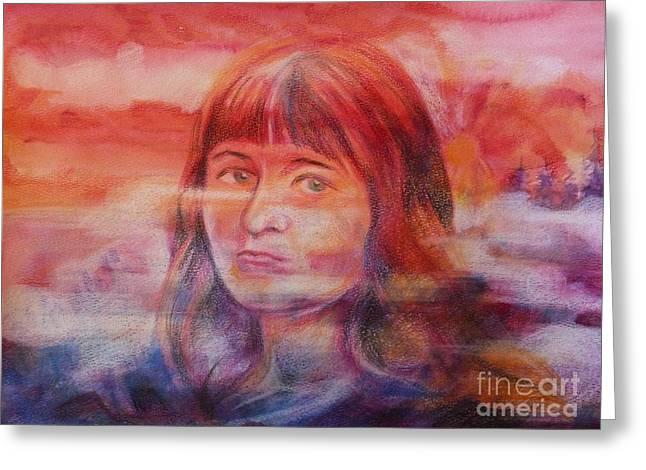 Anna Duyunova Art Greeting Cards - SelfPortrait Greeting Card by Anna  Duyunova