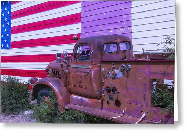 Forgotten Greeting Cards - Seligman Fire Dept Engine Greeting Card by Garry Gay