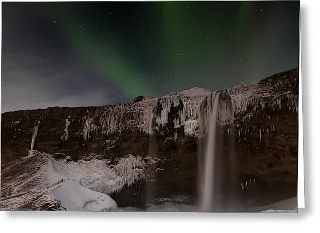 Winter Night Greeting Cards - Seljalandsfoss Greeting Card by Martin Zalba