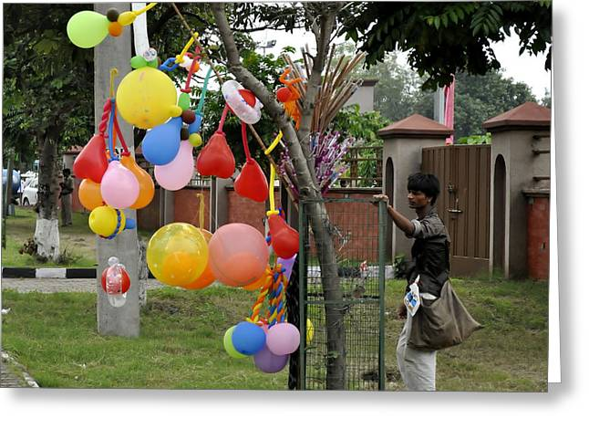 Balloon Vendor Greeting Cards - Selling Colors Greeting Card by Bliss Of Art