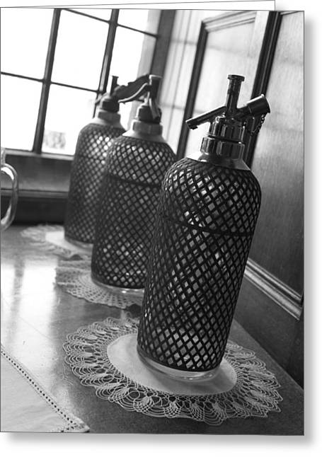 Doily Greeting Cards - Seltzer Bottles Greeting Card by Lauri Novak