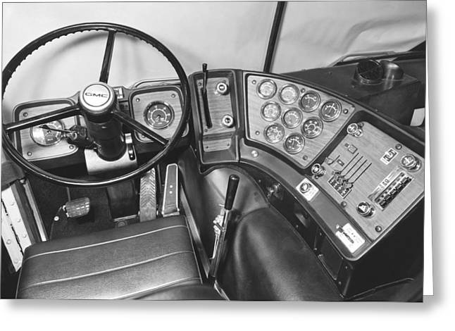 Steering Greeting Cards - Semi-Trailer Cab Interior Greeting Card by Underwood Archives