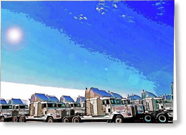 Semi Truckscape 1 Greeting Card by Steve Ohlsen