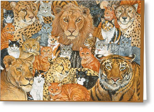 Semi Wild Cat Spread Greeting Card by Ditz