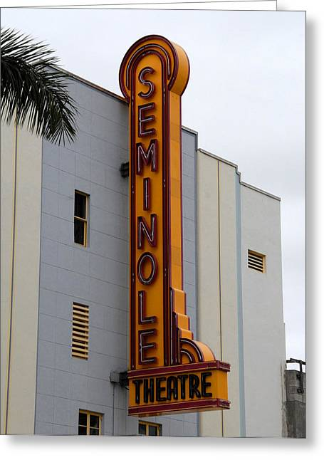 Florida House Greeting Cards - Seminole Theatre 1940 Greeting Card by David Lee Thompson