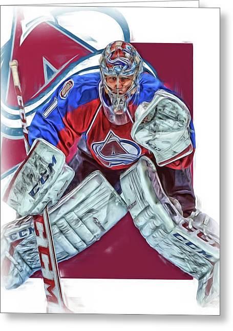 Semyon Varlamov Colorado Avalanche Oil Art Greeting Card by Joe Hamilton