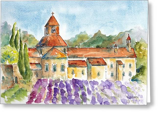 Sienna Greeting Cards - Senanque Abbey Lavender Greeting Card by Pat Katz
