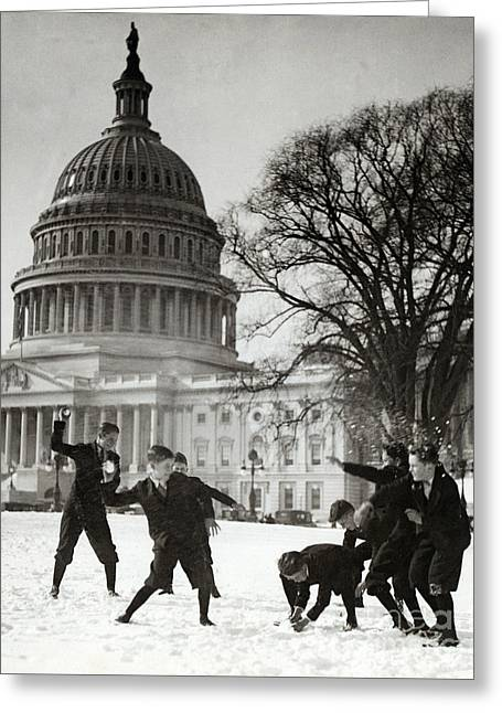 Senate Page Snowball Fight, C.1909-1932 Greeting Card by Science Source
