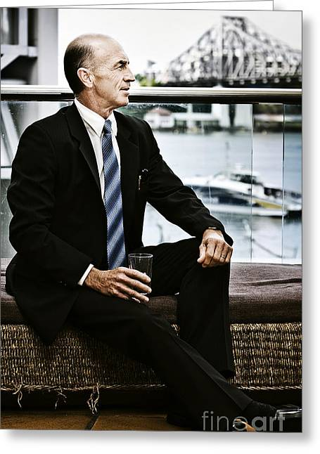 Senior Executive With Positive Future Outlook Greeting Card by Jorgo Photography - Wall Art Gallery