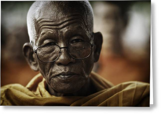 Monk-religious Occupation Greeting Cards - Senior Monk 1 Greeting Card by David Longstreath