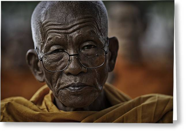 Monk-religious Occupation Greeting Cards - Senior Monk 2 Greeting Card by David Longstreath
