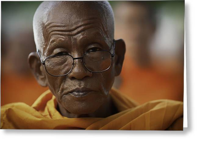 Monk-religious Occupation Greeting Cards - Senior Monk 3 Greeting Card by David Longstreath