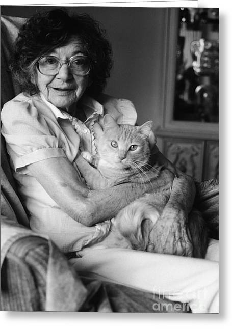 Senior Woman With Cat, C.1980s Greeting Card by H. Armstrong Roberts/ClassicStock