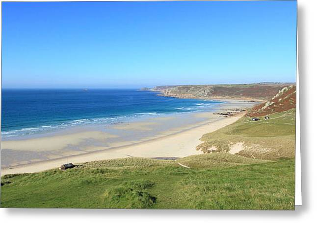 Sennen Greeting Cards - Sennen Cove - Panoramic Greeting Card by Carl Whitfield