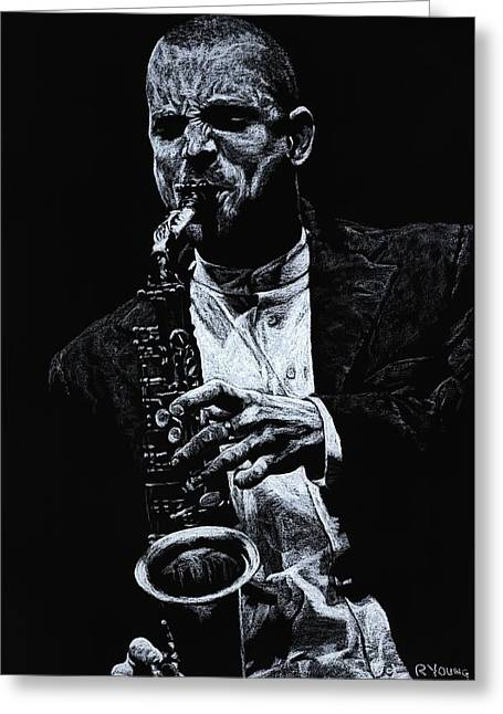 Celebrities Pastels Greeting Cards - Sensational Sax Greeting Card by Richard Young