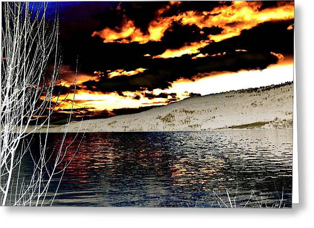 Willow Lake Greeting Cards - Sensational Winter Sunset Greeting Card by Will Borden