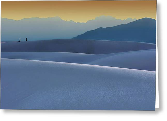 Sense Of Scale - 2 - White Sands - Sunset Greeting Card by Nikolyn McDonald