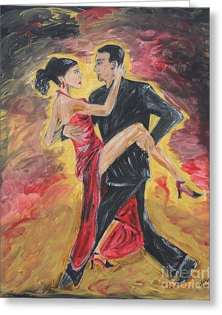 Sensual Tango Greeting Card by Jasmine Tolmajian