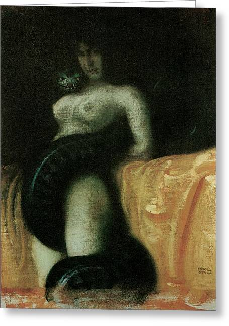 Victorian Era Woman Greeting Cards - Sensuality Greeting Card by Franz Von Stuck