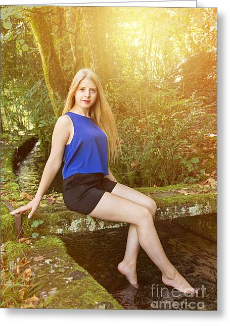 Feminity Greeting Cards - Sensuous woman sitting in forest Greeting Card by Gregory DUBUS
