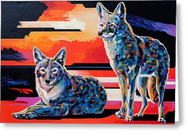 Coyote Art Greeting Cards - Sentinels II Greeting Card by Bob Coonts