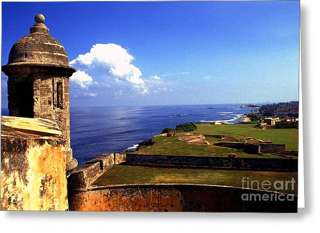 Puerto Rico Greeting Cards - Sentry Box and Sea Castillo de San Cristobal Greeting Card by Thomas R Fletcher