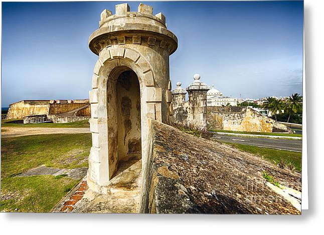 Sentry Post Of San Cristobal Fort Greeting Card by George Oze