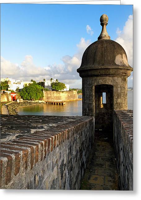 Caribbean Architecture Greeting Cards - Sentry Post on Old City Wall Greeting Card by George Oze