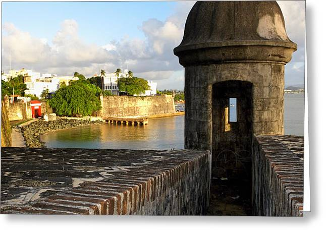 Sentry Post on Old City Wall Greeting Card by George Oze
