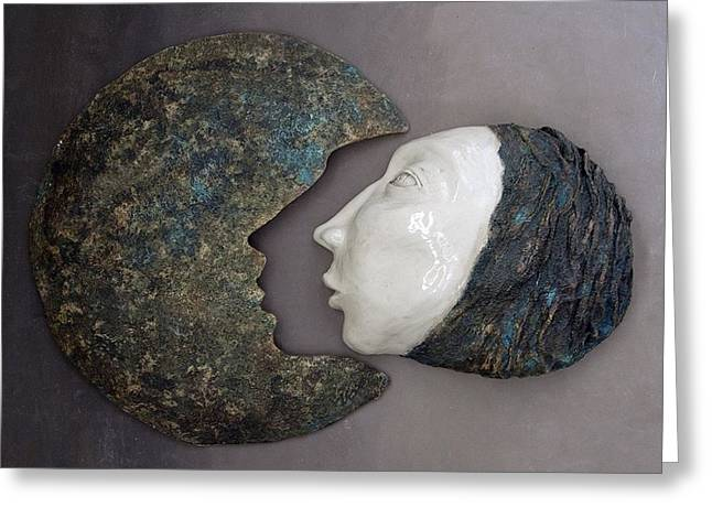 Moon Sculptures Greeting Cards - Separated Greeting Card by Zdenka Chamberland