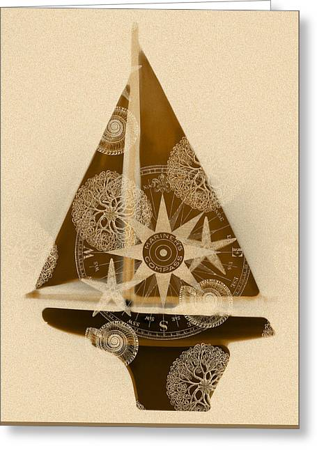 Sepia Boat Greeting Card by Frank Tschakert
