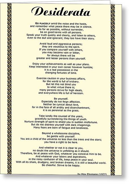 Recently Sold -  - Motivational Poster Greeting Cards - Sepia Chain Desiderata Poem Greeting Card by Desiderata Gallery