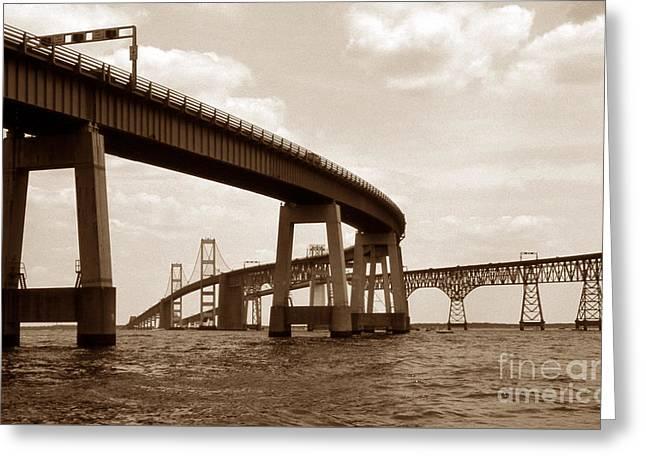 Bay Bridge Greeting Cards - Sepia Chesapeake Bay Bridge Greeting Card by Skip Willits