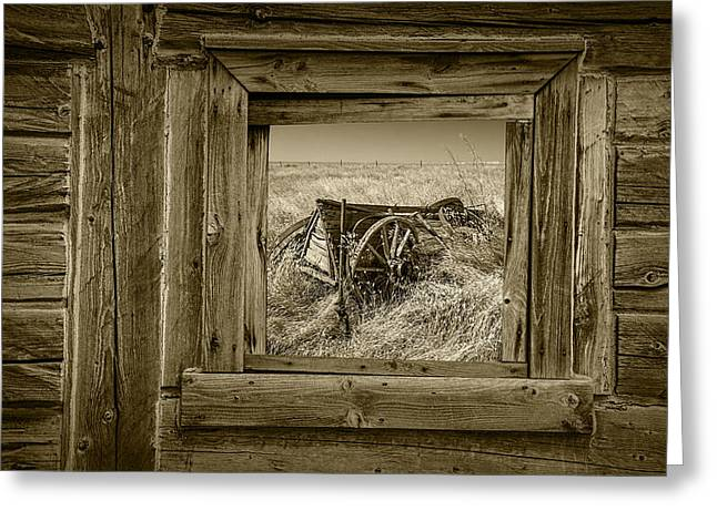 Wooden Wagons Greeting Cards - Sepia Colored Farm Wagon with Barn Window Greeting Card by Randall Nyhof