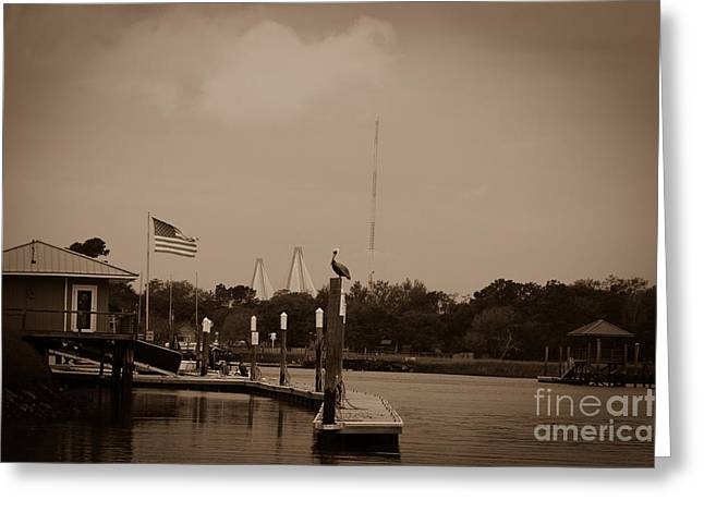 Sepia Dockside On Shem Creek Greeting Card by Dale Powell