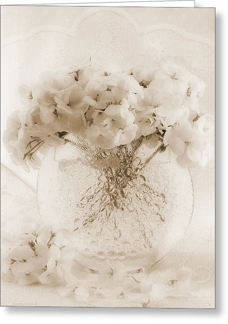 Interior Still Life Greeting Cards - Sepia Geraniums In Bubble Vase Greeting Card by Sandra Foster