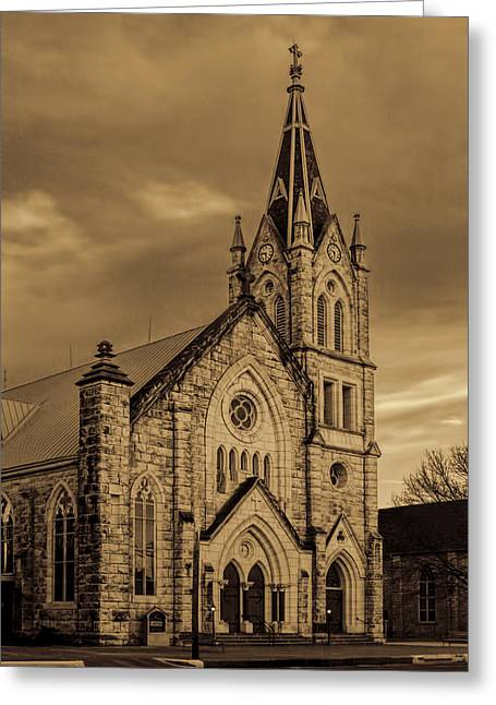 Brown Tones Greeting Cards - Sepia Limestone Church Greeting Card by Linda Phelps