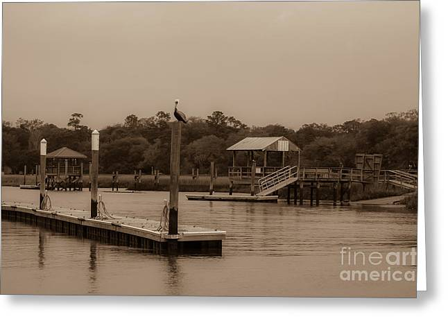 Sepia Of Shem Creek Greeting Card by Dale Powell