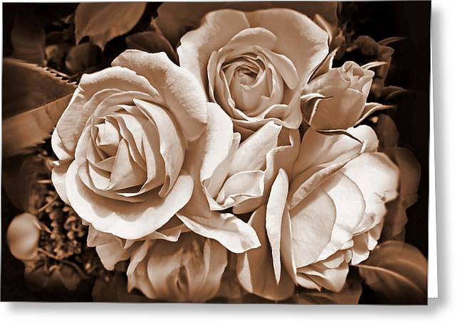 Vintage Rose Greeting Cards - Sepia Rose Flower Bouquet Greeting Card by Jennie Marie Schell