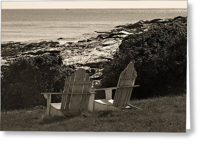 Chairs Greeting Cards - Sepia Seaside Retreat Greeting Card by Lone  Dakota Photography