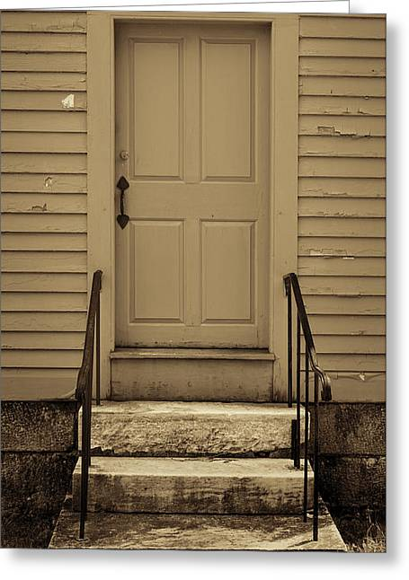 Maine Agriculture Greeting Cards - Sepia Shaker Door Greeting Card by Stephen Stookey