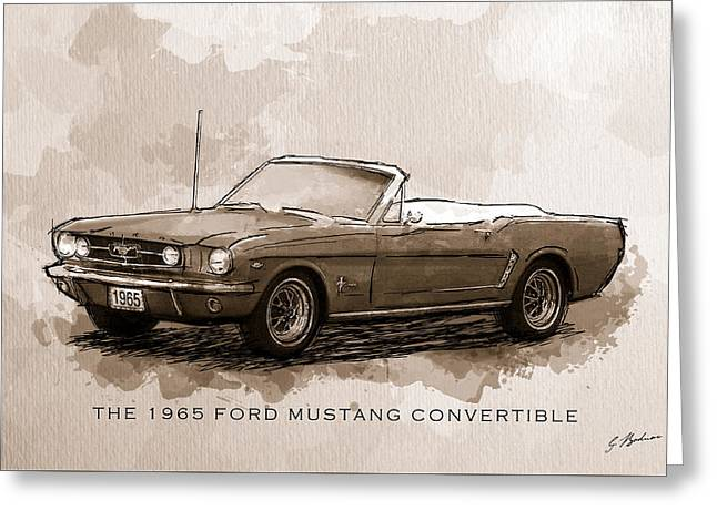 Shelby Mustangs Greeting Cards - 1965 Ford Mustang Convertible Sepia Greeting Card by Gary Bodnar