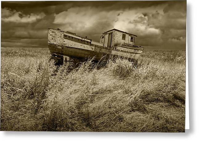 Brown Toned Art Greeting Cards - Sepia Tone Abandoned Fishing Boat Greeting Card by Randall Nyhof
