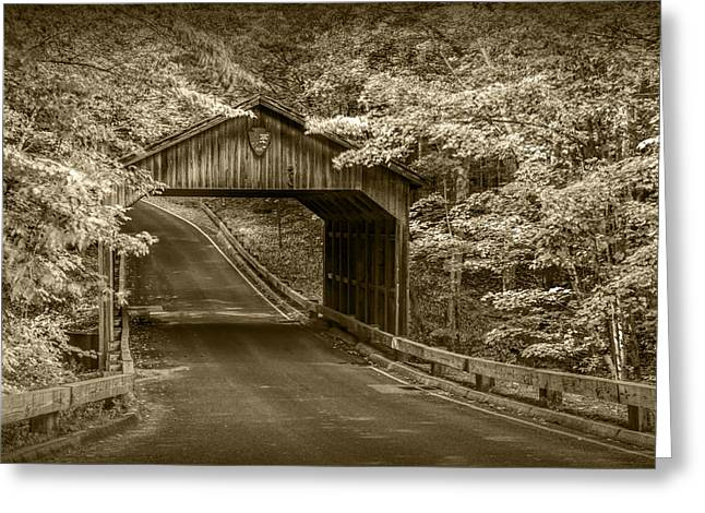 Scenic Drive Greeting Cards - Sepia Toned Covered Bridge at Sleeping Bear Greeting Card by Randall Nyhof