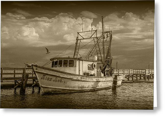 Water Vessels Greeting Cards - Sepia Toned Fishing Boat Miss Ash Greeting Card by Randall Nyhof