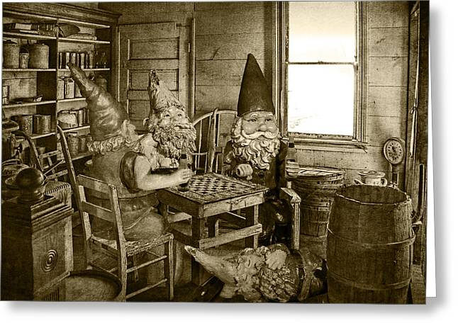 Checker Board Greeting Cards - Sepia Toned Garden Gnomes Playing Checkers Greeting Card by Randall Nyhof