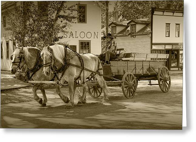 Brown Toned Art Greeting Cards - Sepia Toned Horse Team with Wagon Greeting Card by Randall Nyhof