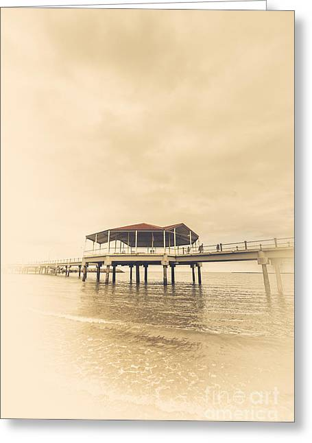 Sepia Toned Image Of A Vintage Marine Pier Greeting Card by Jorgo Photography - Wall Art Gallery