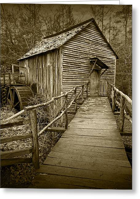 Brown Toned Art Greeting Cards - Sepia Toned John Cable Gristmill in Cades Cove Greeting Card by Randall Nyhof