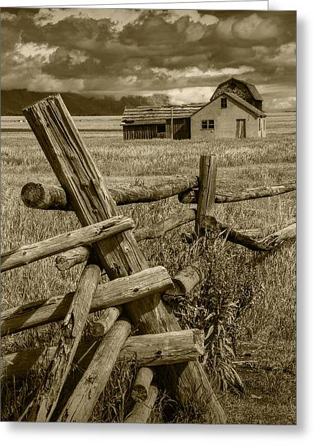 Brown Toned Art Greeting Cards - Sepia Toned Photograph of a Wood Fence Mormon Row by the John Moulton Farm Greeting Card by Randall Nyhof